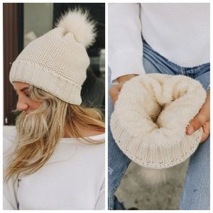 Ivory pom beanies with faux fur lining